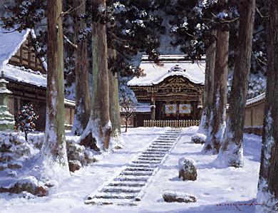 葛西俊逸「奥入瀬初秋」 樋口 洋「雪の永平寺」  一枚の繪 − 「一枚の繪」2009年12月号