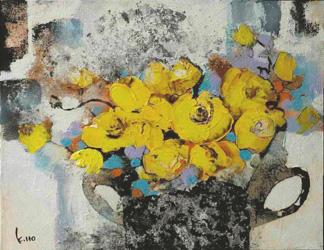 平野俊一「花筏」日本画6号 伊藤 久美子「黄色のバラのギフト」油彩6号 葛西 俊逸「清流 奥入瀬